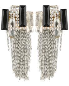 Vikson Rectangle Mirror Chain Earrings Silver-tone