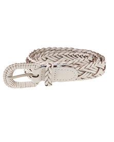 Vikson Ladies Braided Leather Belt White