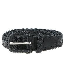 Vikson Ladies Braided Leather Belt Black