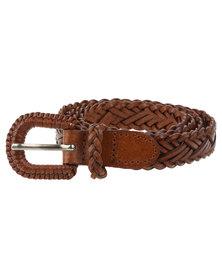 Vikson Ladies Braided Leather Belt Tan