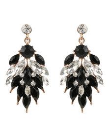 Vikson Petal Stone Earring Black/Gold