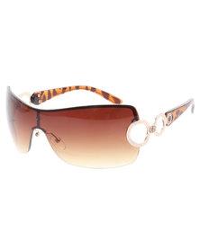 Viper Frameless Side Circle Sunglasses Brown