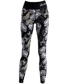 Vivolicious Midnight Roses Performance Tech Tights Long Printed Black White Grey