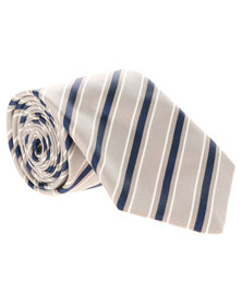 Viyella Silk Diagonal Stripe Tie Grey