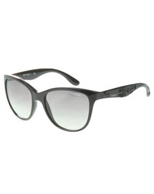 Vogue Havana Oversized Gradient Lens Sunglasses Black
