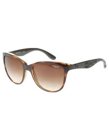 Vogue Havana Oversized Gradient Lens Sunglasses Brown