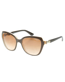 Vogue Oversized Gradient Lens Sunglasses Brown