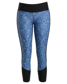 Went Active Paisley Tights Black Blue