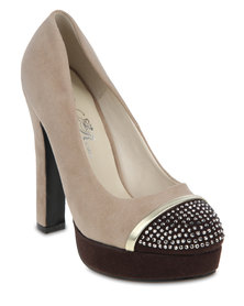 Wild Rose Honey Platform Heels Nude