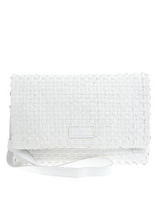 Willow Tree Textured Leather Clutch Bag White