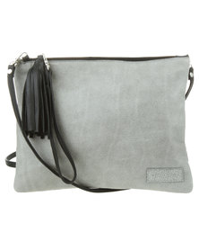 Willow Tree Sling Leather Clutch Bag Black and Grey