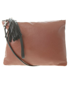 Willow Tree Feminine Sling Leather Clutch Bag Black and Brown