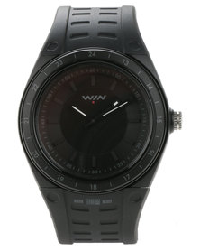 Win Active Silicone Strap Analogue Watch Black