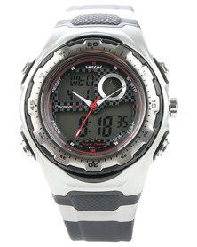Win Active Silicone Strap Digital Watch Black/Silver