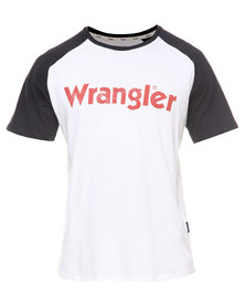 Wrangler Straight Forward Raglan Tee White