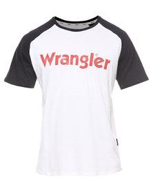 Wrangler Straight Forward Raglan Tee White