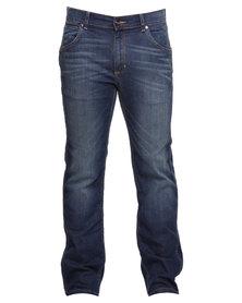 Wrangler Ace Straight Leg Jeans Dark Blue