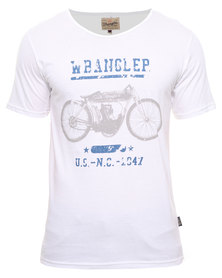 Wrangler Old India Split Back Tee White