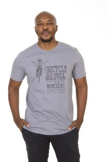 WWF Home Brewed Bicycle Solutions Mens T-Shirt Light Grey