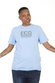 WWF Home Brewed Eco Warrior Mens T-Shirt Sky Blue
