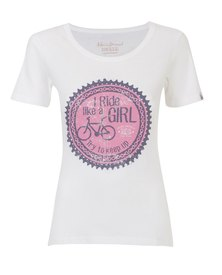 WWF Home Brewed I Ride Like A Girl Ladies T-Shirt White