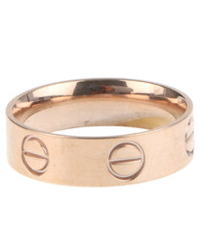 Xcalibur Stainless Steel Nail Head Ring Rose Gold