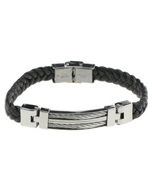 Xcalibur Stainless Steel Plate Hinge Leather Bracelet Black