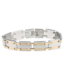 Xcalibur Stainless Steel Two Tone Link Bracelet Silver-Tone/Gold-Tone