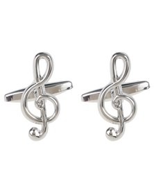 Xcalibur Mens Musical Cufflinks Silver-Tone