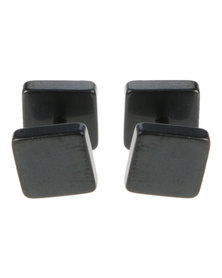 Xcalibur Stainless Steel Square Plug Earrings Black