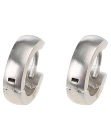 Xcalibur Stainless Steel Plain Hoop Earrings Silver-tone
