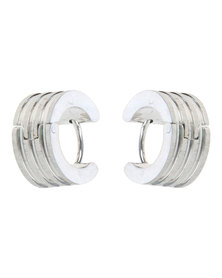 Xcalibur Stainless Steel Matte and Shine Hoop Earrings Silver-tone