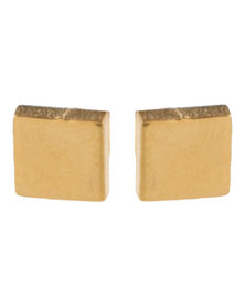 Xcalibur Stainless Steel Curve Square Plug Earrings Gold