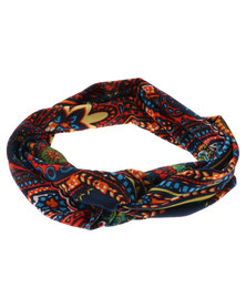 XOXO Paisley Sunburst Twist Headband Navy