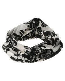 XOXO Lace Print Headband Black and White