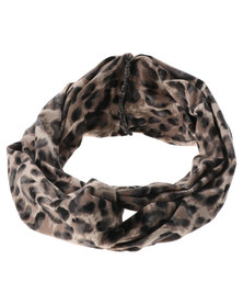 XOXO Leopard Twist Headband Natural