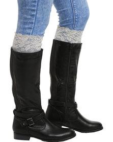 XOXO Lace Boot Cuffs Light Grey