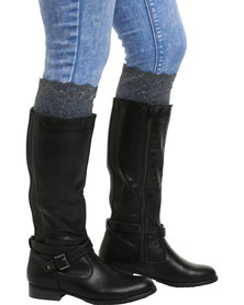 XOXO Lace Boot Cuffs Grey
