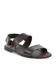 YI MAI DA 2 Bands With Buckle Classic Sandals Brown
