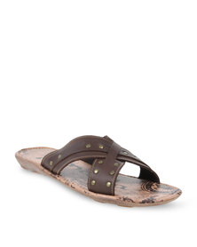 YI MAI DA Sandals With Gold Studs Brown