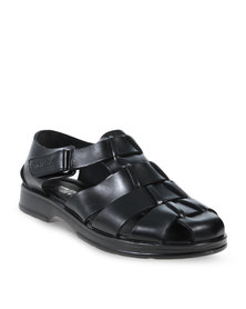 YI MAI DA Sandals With Velcro Buckle Black