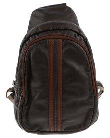 YOYO Contrast Stripe Sling Bag Brown