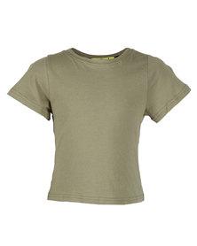 Zillycat Bow Detail T-Shirt Khaki Green