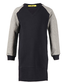 Zillycat Girls Colour Block Raglan Sleeve Dress Blue