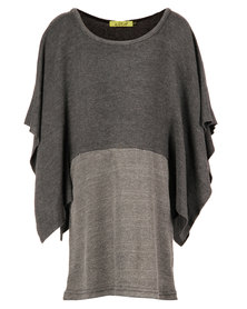 Zillycat Girls Dress With Bottom Panel & Wide Sleeves Grey