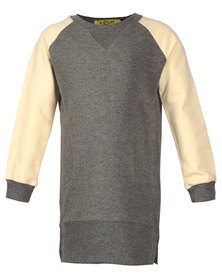 Zillycat Girls Colour Block Raglan Sleeve Dress Grey