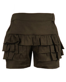 Zillycat Girls Skirt With Frills Dark Olive Green