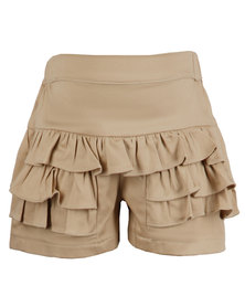 Zillycat Girls Skirt With Frills Beige