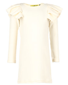 Zillycat Girls Top With Pleated Cap Sleeves Beige