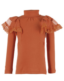 Zillycat Lace & Knit Panel Top Orange